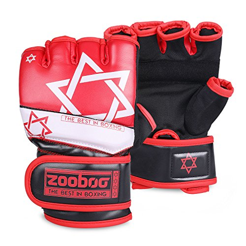 Flexzion MMA Grappling Gloves - Muay Thai Training Punching Bag Mitts Kickboxing Fighting Protective Hand Gear Accessories Supplies with Bag for Mixed Martial Arts Combat Sports Gym UFC (Medium, Red)