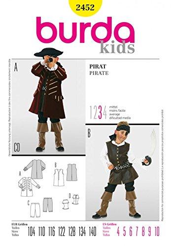 Burda Children's Sewing Pattern 2452 - Pirate Sizes: 4-10 Junior