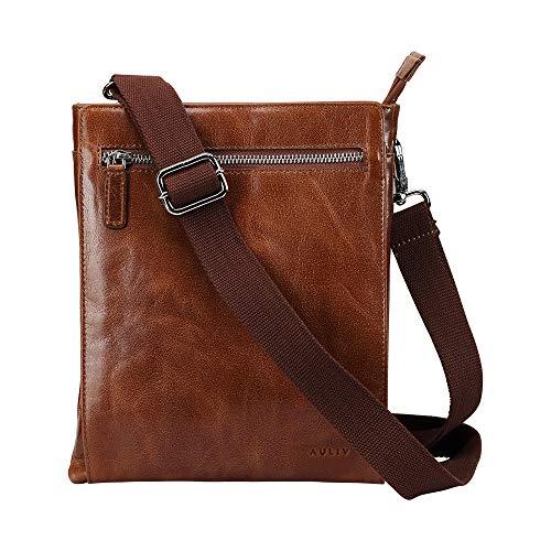 AULIV Messenger Shoulder Bag Cross Body Satchel for Travel,Office, Full Grain Leather for Men Women