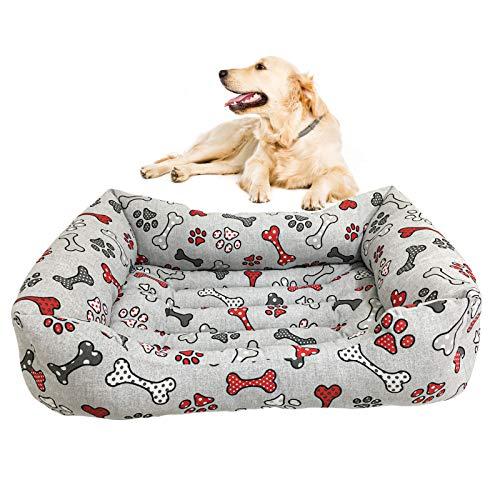 Caseta para perro, caseta de gato, interior y exterior, cojín para perros, de suave algodón, apto para diferentes tamaños de perros, gatos, conejos, impermeable y antideslizante (plata, XL)