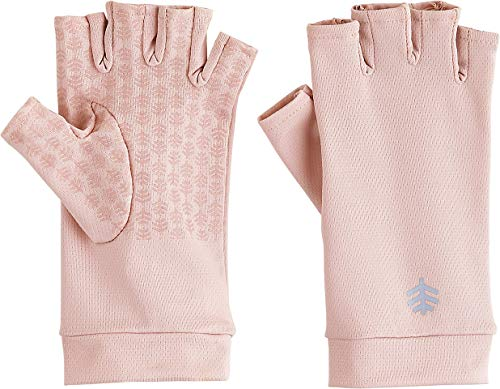 Coolibar UPF 50+ Men's Women's Ouray UV Fingerless Sun Gloves - Sun Protective (X-Large- Petal Pink)