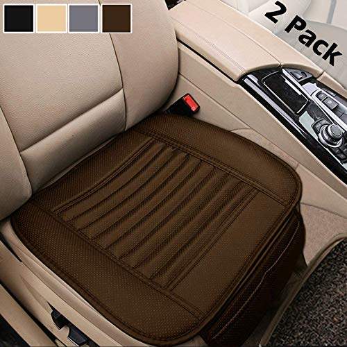 Big Ant 2 Pack Car Seat Cushion, Breathable Car Interior Seat Cover Cushion Pad Mat for Auto Supplies Office Chair with PU Leather (Tan)