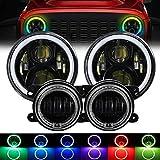 cciyu 7 RGB LED Halo Headlights Fog Light Combo Kit for Jeep Wrangler JK Muti-Color Fit 2007-2017 for Jeep Wrangler JKU LED Headlights Turn Signal Lights