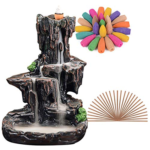 SPACEKEEPER Waterfall Backflow Incense Burner Mountain Tower Incense Holders with 120 Backflow Incense Cones + 30 Incense Stick for Home Office Yoga Aromatcherapy Ornamen, Stone Brown