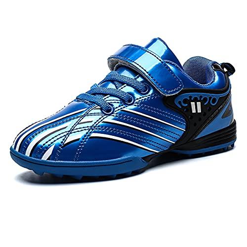Saekeke Football Enfants en Cuir Lisse Coloré TF Chaussures de Football Légères Garçons Filles Chaussures D'entraînement en Plein Air Bleu EU 30