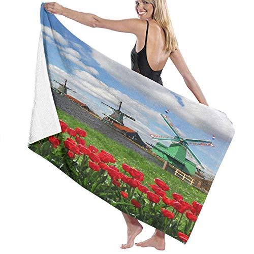 Toallas de Playa Toallas Secado rápido,Molinos de Viento holandeses Tradicionales con Tulipanes Rojos en Amsterdam Scenic Field River Decorativo,Toallas de baño per Uso quotidiano 80x130CM