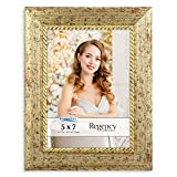 Icona Bay 5x7 Gold Picture Frame, Baroque Style Photo Frame 5 x 7, Wall Mount or Table Top, Regency Collection