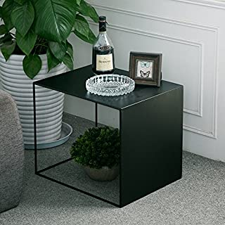 WGX Square Wrought Iron Coffee Table Outdoor Iron End Table Nesting Side Tables Plant Stand, Black, Set of One (A L19xW14.5xH15.7)