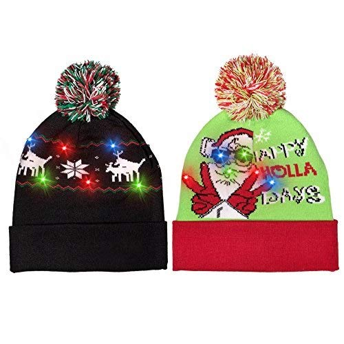 Windy City Novelties (2 Pack) LED Light-up Festive Knitted Holiday Xmas Beanie Hat