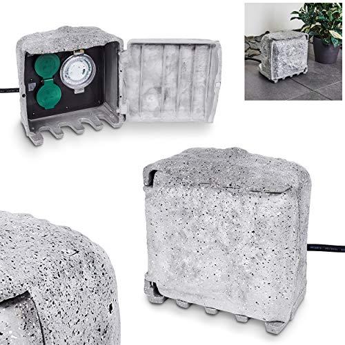 Tinú - Enchufe para exteriores, enchufe de metal en imitación de piedra y plástico negro, 4 enchufes para exteriores con temporizador/temporizador, potencia máxima 3680 W, IP44