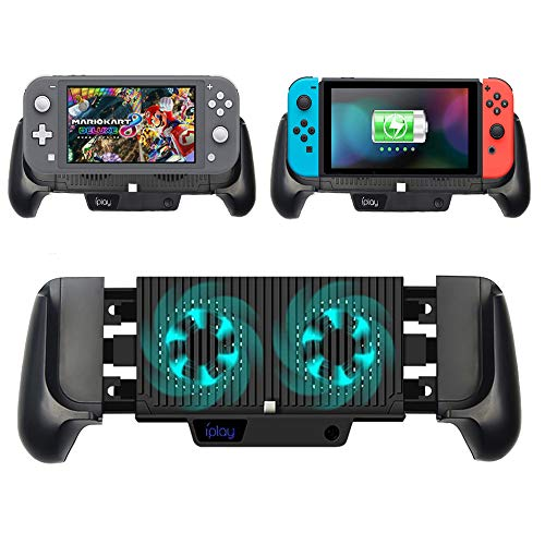 6000mAh Battery Charger Case for Nintendo Switch/Switch Lite, Portable Charger Shell Protective Case Stretchable Grip, Double Cooling Fans, Quick Charging Cooling Controller with Kickstand (Black)