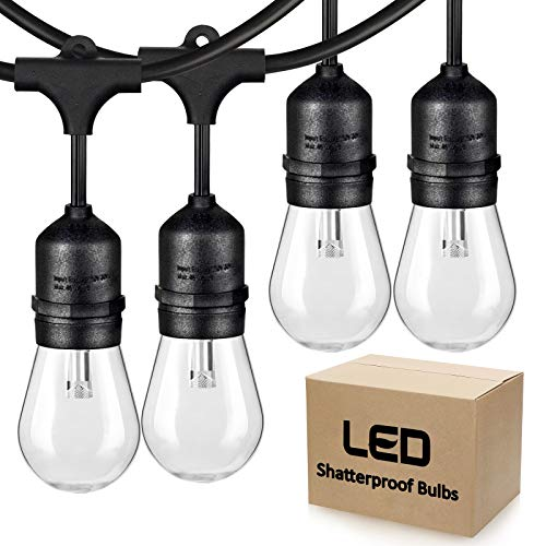2-Pack 48FT LED Dimmable String Lights Outdoor for Patio, Commercial Grade LED Edison Bulb String...