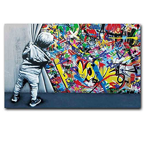 qingqingzijin Moderno Color de la Calle Graffiti Pintura de Pared Banksy Cartel de Moda Lienzo Pintura Sala de Estar Pasillo decoración MuralA239 50 × 70CM sin Marco
