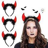 APERIL 4PCS Teufelshörner Haarreifen mit Schwarzen Federn LED Teufel Ohren Haarband haarreif...