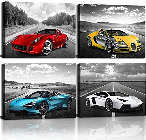 Black and White Wall Art Car Poster Decor Framed Car Art for Man Boys Bedroom D cor Sports Posters product image