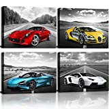 CANVASZON Car Poster Decor Black and White Wall Art Framed Car Art for Men Boys Bedroom Décor Sports Posters Landscape Office Room Decor Gift for Teen Boys Lamborghini McLaren Bugatti