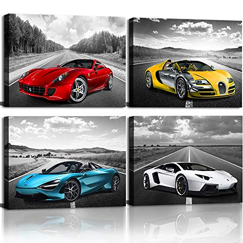 Car Poster Decor Black and White Wall Art Framed Car Art for Men Boys Bedroom Décor Sports Posters Landscape Office Room Decor Gift for Teen Boys Ready to Hang