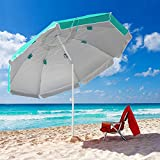 Forceatt da 7,5 piedi Ombrellone con ancoraggio di sabbia, ombrellone portatile da esterno, protezione UV 50+ protezione solare, regolabile in altezza, adatto per cortile con giardino sulla spiaggia