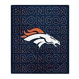 Pegasus Sports NFL Echo Team Wordmark Plush Blanket- Denver Broncos Team Color 60x70