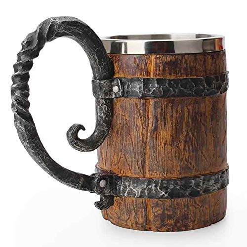 Dusdombr Wooden Barrel Beer Mug Bucket Shaped Drinkware With HandleStainless Steel Double Wall Cocktail Mug for Bar Restaurant
