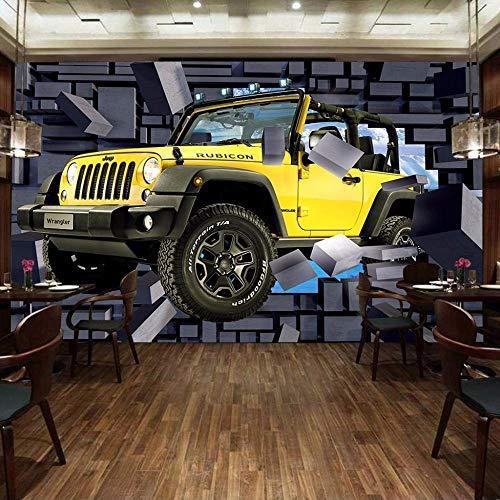 Tamaño personalizado 3D coche a través de la pared pintura de pared estéreo pared de ladrillo Bar restaurante decoración de fondo pintura Mural papel tapiz