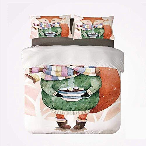Zozun Duvet Cover Set Animal Warm 3 Bedding Set,Cute Little Fox and Bird on His Head Tea Time Kids Nursery Friends Baby Theme for Room