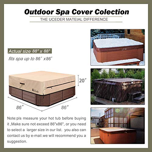 pool spa part Hot Tub Outdoor Cover Cap and Hot Tub Cover Protector (actual size 88''x88''x20'' Fit 86''x 86') Heavy Duty Water-Resistant Polyester, 100% Waterproof spa sun shield