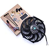 CarBole 12 pulgadas 80 W 12 V ventilador de refrigeración de radiador eléctrico de alto rendimiento universal con kit de arnés de cableado de montaje de ventilador negro