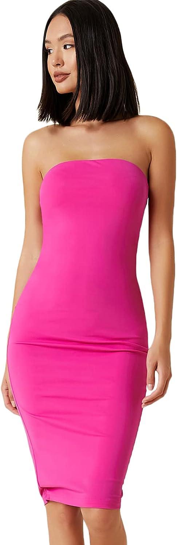 Floerns Women's Basic Strapless Tube Top Sleeveless Bodycon Midi Club Dress