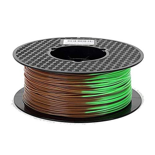 PLA-Farbwechselfilament 1,75 mm, 3D-Druckerfilament 1kg, Änderung mit Temperatur-Braun bis grün