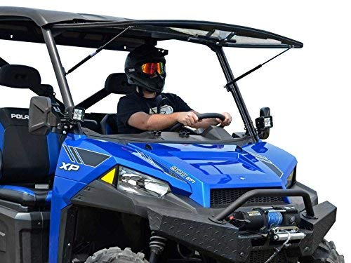 SuperATV Scratch Resistant 3-in-1 Flip Windshield for 2013+ Polaris Ranger XP 900/900 Crew | 1/4' Thick Polycarbonate 250X Stronger Than Glass | USA Made | Set to Open, Vented, or Fully Closed!