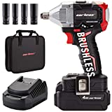 CARTMAN 20V 1/2' Cordless Impact Wrench 3 Speed Switch with Fast Charger, Brushless Impact...