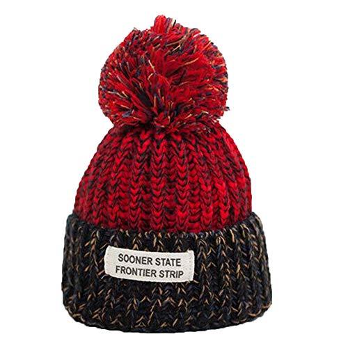 Yowablo Wintermütze Hairball Mütze Damen Dick Damen Mütze Mädchen Mützen Strickmützen Mütze (4Rot)