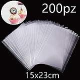 Gudotra 200pz Bustine Trasparenti Plastica Alimentari Sacchetti Confetti Bomboniere Regalo Caramelle (200pz-15x23cm)