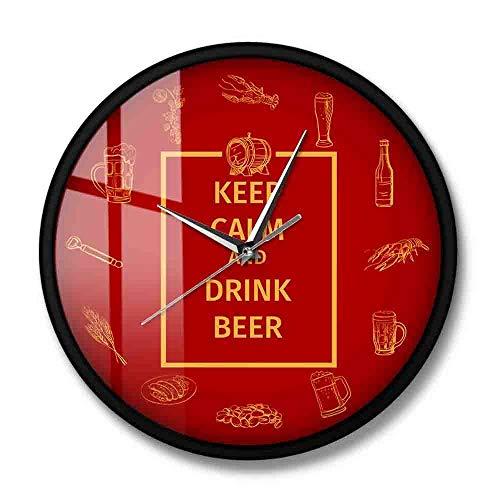 rrff Halten Sie Ruhe Und Trinken Bier Wein Wanduhr Für Kneipen Bars Und Restaurants Schweigen Wand Uhr Küche Kunst Britischen Hause dekor Uhr-Metal_Frame