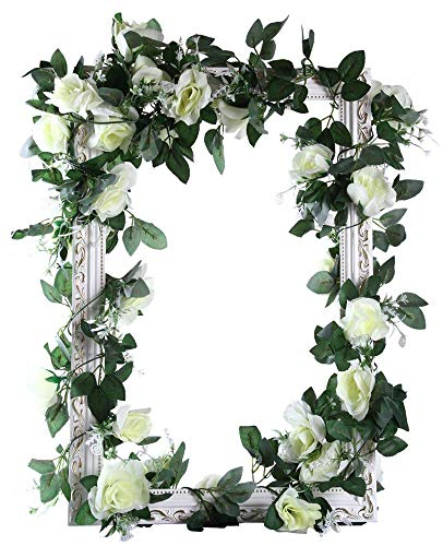 MARTHA&IVAN Artificial Rose Garland Fake Rose Vine Faux Hanging Flower Garland for Wedding Arch Backdrops Home Decor (Mixed White, 3)