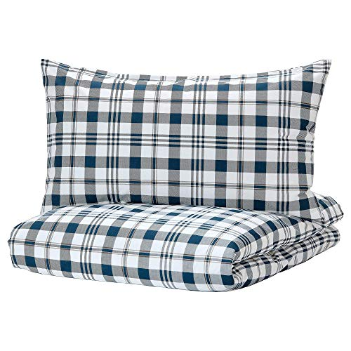 Ikea SPIKVALLMO Duvet Cover and Pillowcases, Wrinkle Resistant, White/Blue Check, Full/Queen (Double/Queen)
