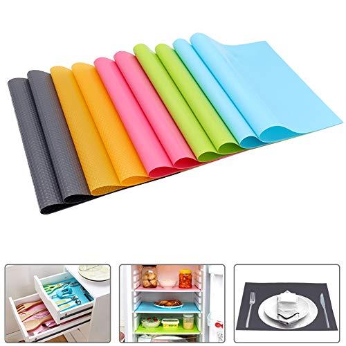ZOORE 10er Antibakterielle Kühlschrankmatten Matten entziehen Feuchtigkeit, für die Einlegeböden des Kühlschranks, Anti-Feuchtigkeit, DIY zuschneidbar Kühlschrankeinlagen, Schubladenmatte - 5 Farben