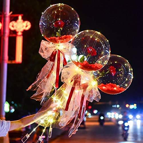 YANGYOU Transparent Balloon Rose Bouquet Led Luminous Bobo Ball,Led Luminous Rose Bouquets For Her Decoration Gift(No Batteries) RedPetals