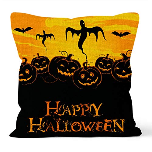 YEARGER Halloween Pillow Covers, Set of 4 Optional Halloween Throw Pillow Covers Farmhouse Cotton Linen Decorative Pillowcases Cushion -, 12x18in, 16x16in, 18x18 Inch,2PC*M,30 * 45cm