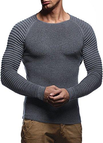 LEIF NELSON Herren Strickpullover Basic Rundhals Crew Neck Sweatshirt Langarm Sweater Feinstrick LN20729, Größe L, Anthrazit