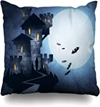 Ahawoso Throw Pillow Cover Drawing Dracula Vampire Castle Holidays Horror Scary Afraid Bats Design Home Decor Cushion Case Square Size 20