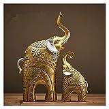HUIJUNWENTI Gold Modern Gold Elephant Resin Decoración del hogar Accesorios Artesanía para Adornos de estatuas de Escultura Madre e Hijo Sala de Estar (Color : Light Green)