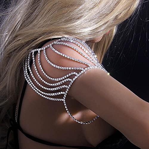 WXJ Cadena de Hombro Brillante, Rhinestone Nupcial Collar de Hombros Joyas de Boda, arnés para Mujeres (Metal Color : Silver-Color)