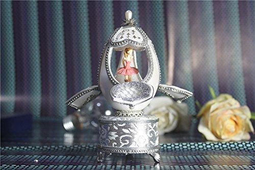 Cuzit Egg Creative Music Box à découper artisanale Musicbox Mini Coquille d'œuf musical Boîtes Meilleur Cadeau pour Mariage, anniversaire, amoureux, anniversaire, de Saint Valentin Day-ballerina Danse