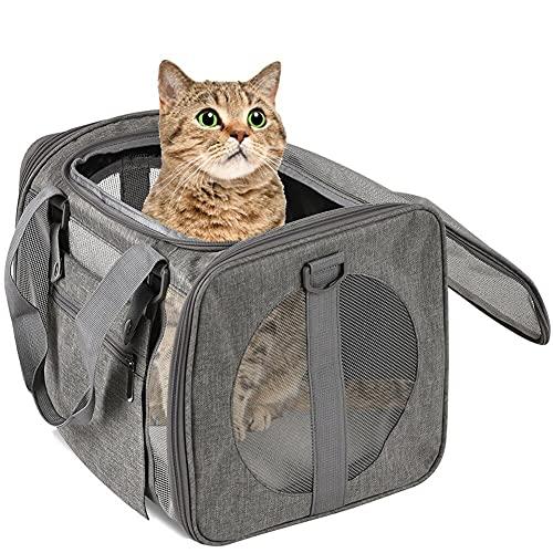 Yoommd Transportín para gatos y perros pequeños en el coche, de tejido Oxford con forro polar extraíble, plegable, para perros o gatos, gris (Gris) - AZRZW0QSEI