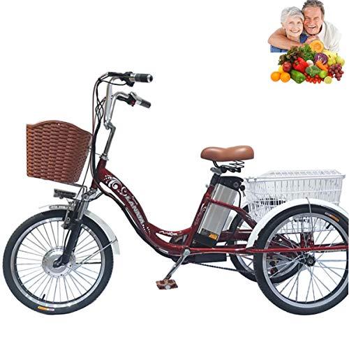Triciclo Triciclo eléctrico para Adultos Bicicletas de 3 Ruedas Bicicletas Scooter eléctrico de 20 '' batería de Litio 48V10AH con Cesta de la Compra Regalo para Padres Iluminación LED Material