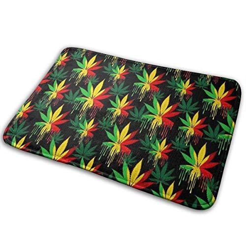Reggae Rasta Marijuana Leaf Weed Felpudo antideslizante Felpudos para interiores y exteriores Alfombrilla para el piso Alfombra para el hogar Alfombra para entrada Puerta principal Cocina Dormitorio B