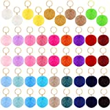46 Pieces Pom Poms Keychains Faux Fur Ball Key Rings Fluffy Rabbit Faux Fur Pompoms Keyring for Women Girls Bag Accessories (Multicolored, 2.36 Inch)