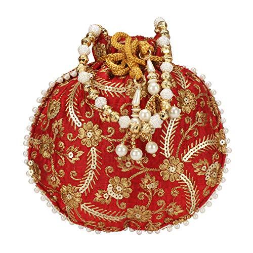 Indische Ethnische Designer bestickte Potli-Tasche aus Seide, Batwa-Perlen Griff Geldbörse, Rot (Red-001), Medium